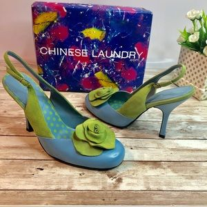 Chinese laundry blue & green Carrie heels